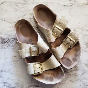 Birkenstock Metallic Gold Arizona Sandals Size 40